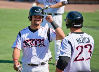 Tommy Medica congratulates Eddy Rodriguez Lake Elsinore Storm by Flickr user SD Dirk