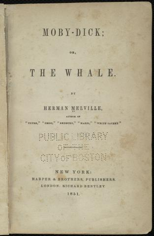 Moby-Dick; or, The Whale [Title page] by Flickr user Boston Public Library