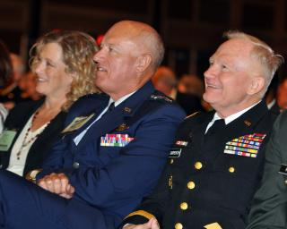 Lt. Gen. Harry M. Wyatt III, director of the Air National Guard, and Maj. Gen. Raymond Carpenter, acting director of the Army National Guard, attend opening ceremonies for the 131st National Guard Association of the United States General Conference by Flickr user The National Guard